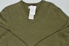 Men's TURNBURY Moss Green Merino Wool V-Neck Sweater Small S NEW NWT