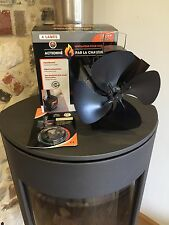 Calore Powered STOVE Top FAN Eco Friendly 4 PALE LEGNO BRUCIATORE GAS CALDAIA CARBONE FUOCO