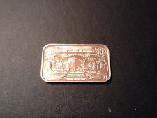 COPPER  BAR 1 OUNCE BANKNOTE $10 BISON  .999 COPPER BULLION- UNCIRCULATED