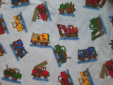 CONSTRUCTION VEHICLES TRUCK DIGGER BLUE COTTON FLANNEL FABRIC FQ