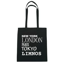 New York, London, Paris, Tokyo LIMNOS  - Jutebeutel Tasche - Farbe: schwarz