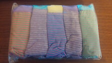 Ladies 95% Cotton Pack of 5 boypant style briefs. Multi coloured stripe Size 8