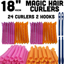 "Magic Hair Curlers  24pcs  (18""long) + 2 Long Wand - Curlformers Spiral Rollers"