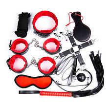 10pcs Adult Bondage Restraints Set Kit Ball Gag Cuff Whip Collar Fetish Sex BDSM