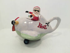 Christmas Santa Claus Flying Airoplane Noel Novelty Teapot Fully Stamped MINT