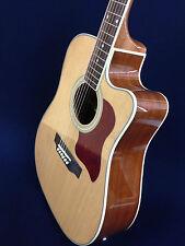 "Caraya 41"" Dreadnought Acoustic Guitar,Natural w/built-in EQ,Cutaway + Free Bag"