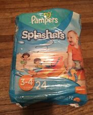 Pampers Splasher's Disposable Swim Pants Size 3-4 24 Pack Diapers 3 4 NEW Sealed
