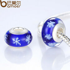 Luxury European Blue Glass Beads With Snown Fit Charm Bracelet Christmas Jewelry