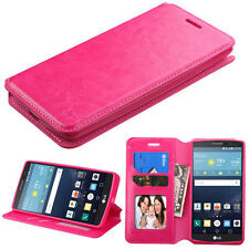 Flip Leather HOT PINK Wallet Card Case Cover Stand For LG Vista 2 G Stylo LS770