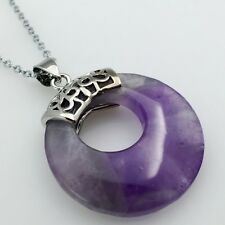 Natural Amethyst Reiki Chakra Round Donut Silver Ring Bead Pendant Necklace