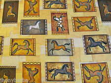 HORSES INDIAN CAVE PAINTING SOUTHWEST TRIBAL ART on COTTON FABRIC Priced By Yard
