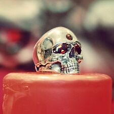KEITH RICHARDS GARNET SKULL RING ROCK BIKER PUNK GOTH