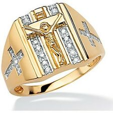 PalmBeach Men's 1/10 TCW Round Diamond Crucifix and Cross Ring in 18k Gold over