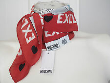 """NEW MOSCHINO AUTHENTICK  SILK """"EXCLUSIVE"""" GREY RED SCARF MADE IN ITALY RRP 80 E"""