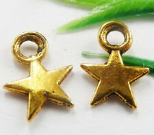 Wholesale free ship 1000pcs gold plated star charms 11x8mm