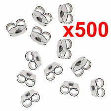x500 earrings silver metal friction butterfly stud stoppers findings post back