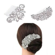 Rhinestone Crystal Wedding Flower Rose Hair Comb Pins Bridal Accessories