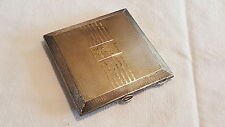 Solid sterling silver vintage Art Deco antique powder compact & mirror box case