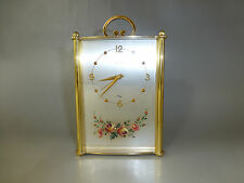 VINTAGE SWISS IMHOF PRE REUGE 8 DAY MUSIC ALARM CLOCK HAND PAINTED ROSE FRONT !