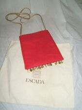 ESCADA Womens SEXY COINS RARE Vintage PINK RED Messenger Gold Purse Handbag Bag