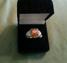 Sunstone, White Topaz and Black Spinel Ring in Sterling Silver - Size 9
