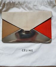 Celine diamond clutch in leather & pony calf skin