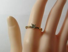 Vintage 10K Yellow Gold 1/4 Carat Princess Cut Diamond Solitaire Size 6.75 Ring