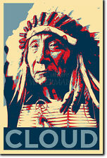 Red cloud art photo print (OBAMA HOPE Parodie) Poster native american indian
