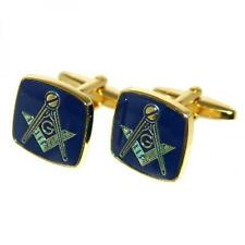 Masonic Blue & Golden Cufflinks Mason Lodge Cruise Party Formal Present Gift Box