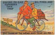 """Saving Gas Expenses On This Trip"" Vintage Bicycle Comic Postcard"