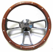 Volkswagen Steering Wheel Kit Billet & Mahogany 1960-73 VW Bug Beetle Ghia