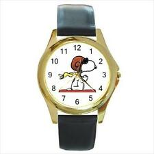 Brand New Snoopy N3 Gold-Tone Leather Band Quartz Watch