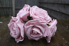 5 x DUSKY VINTAGE PINK COLOURFAST FOAM OPEN LARGE ROSES 9cm  WEDDING FLOWERS