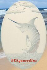 Oval 8x12 MARLIN STATIC CLING WINDOW DECAL for Glass - Tropical Fishing Decor