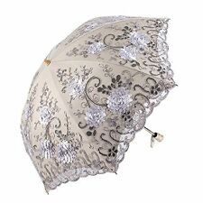 Honeystore Vintage Lace UV Sun Parasol Two Folding 3D Flower Embroidery Umbrella