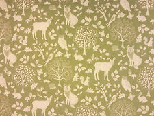 ENCHANTED WOODS SOFT GREEN E35 COTTON CURTAIN FABRIC CHILDRENS FOREST ANIMALS
