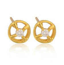 Vintage 9K Gold Filled Clear Round Crystal Women's Stud Earrings Free Shipping