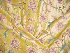 2y SCHUMACHER EMBROIDERED GARDEN FLORAL WOOL CREWEL ON VELVET UPHOLSTERY Fabric