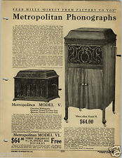 1920 PAPER AD 4 PG Metropolitan Phonograph Record Player Hand Power Console