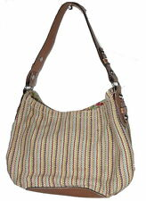 FOSSIL Woven Canvas & Brown LEATHER Shoulder BAG Hobo Zip Top