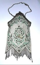 1920's MANDALIAN MFG CO RARE MESH PURSE FLAPPER BAG ENAMEL METAL ART DECO LADIES