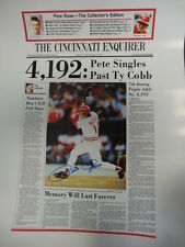 Pete Rose Reds Signed Newspaper Poster Autograph Auto Mounted Memories