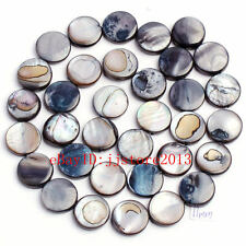 11mm Pretty Natural Black Shell MOP Coin Shape Gemstone Loose Beads Strand 15""