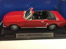 1964 1/2 Ford Mustang Convertible Red 1/18 Scale Diecast Car Motor Max