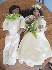 "RARE 29"" HAWAIIAN BRIDE GROOM PORCELAIN WEDDING DOLLS Rubert June Mold Flowers"