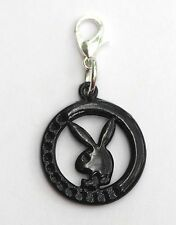 Black Playboy Bunny Symbol Lobster Clasp Single Clip on Charm Pendant Fits Sabo