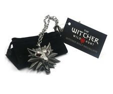 Witcher 3 Wild Hunt Wolf Head Metal Medallion Pendant & Chain Necklace w/ Bag