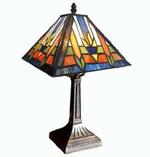 Southwestern Mission Style Stained Glass Medium Tiffany Style Table Lamp Desk