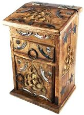 Beautiful Triquetra Witches Cupboard Herb Chest Woden Box Antique Style Triqueta