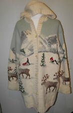 VTG Ralph Lauren Hand Knit Hooded Cardigan Winter Scene Reindeer Snow Sweater XL